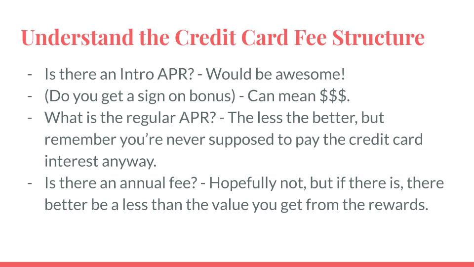 Understand the Credit Card Fee Structure