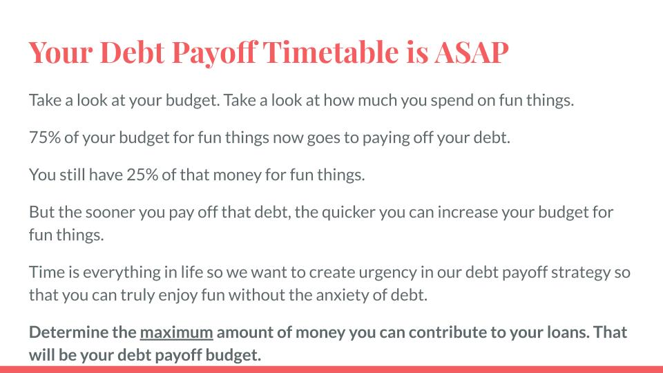 You Debt Payoff Timetable is ASAP