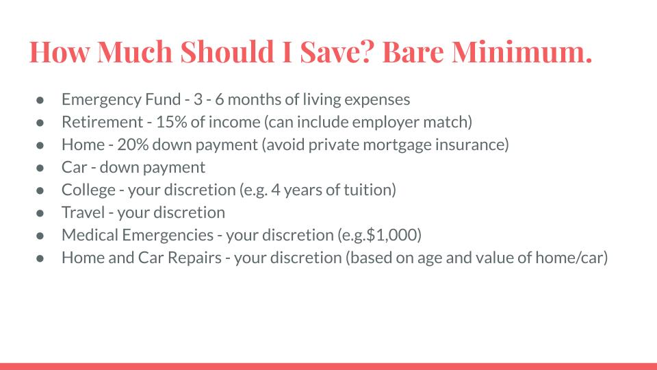 How Much Should I Save? Bare Minimum.