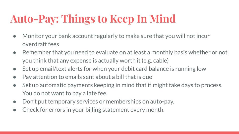 Auto-Pay: Things to Keep in Mind
